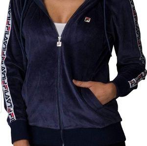 Fila velour navy zip up jacket/hoodie